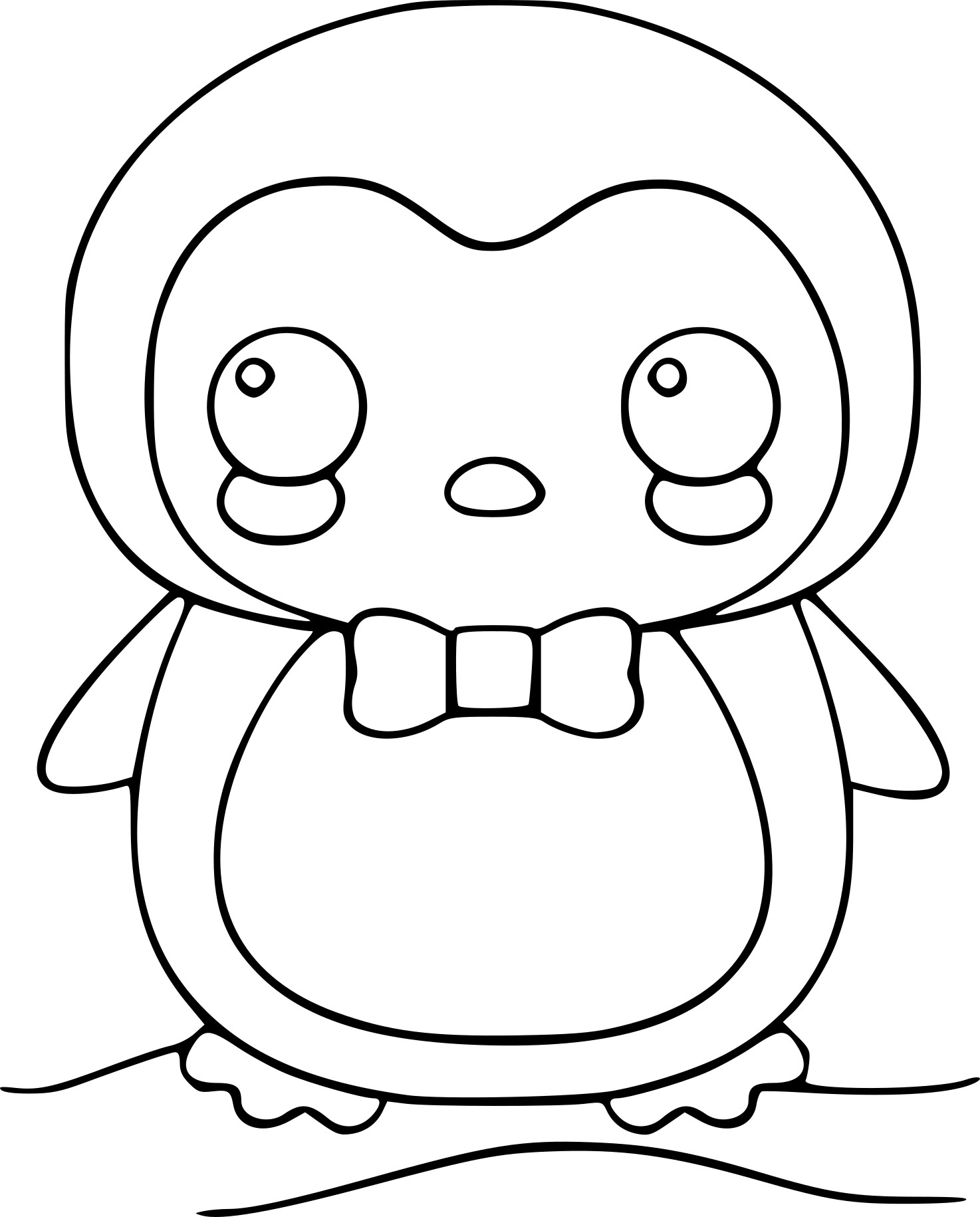 Coloriage manchot kawaii