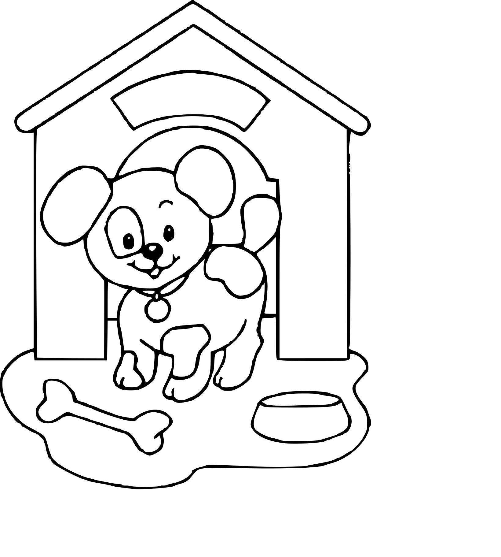 Coloriage niche de chien