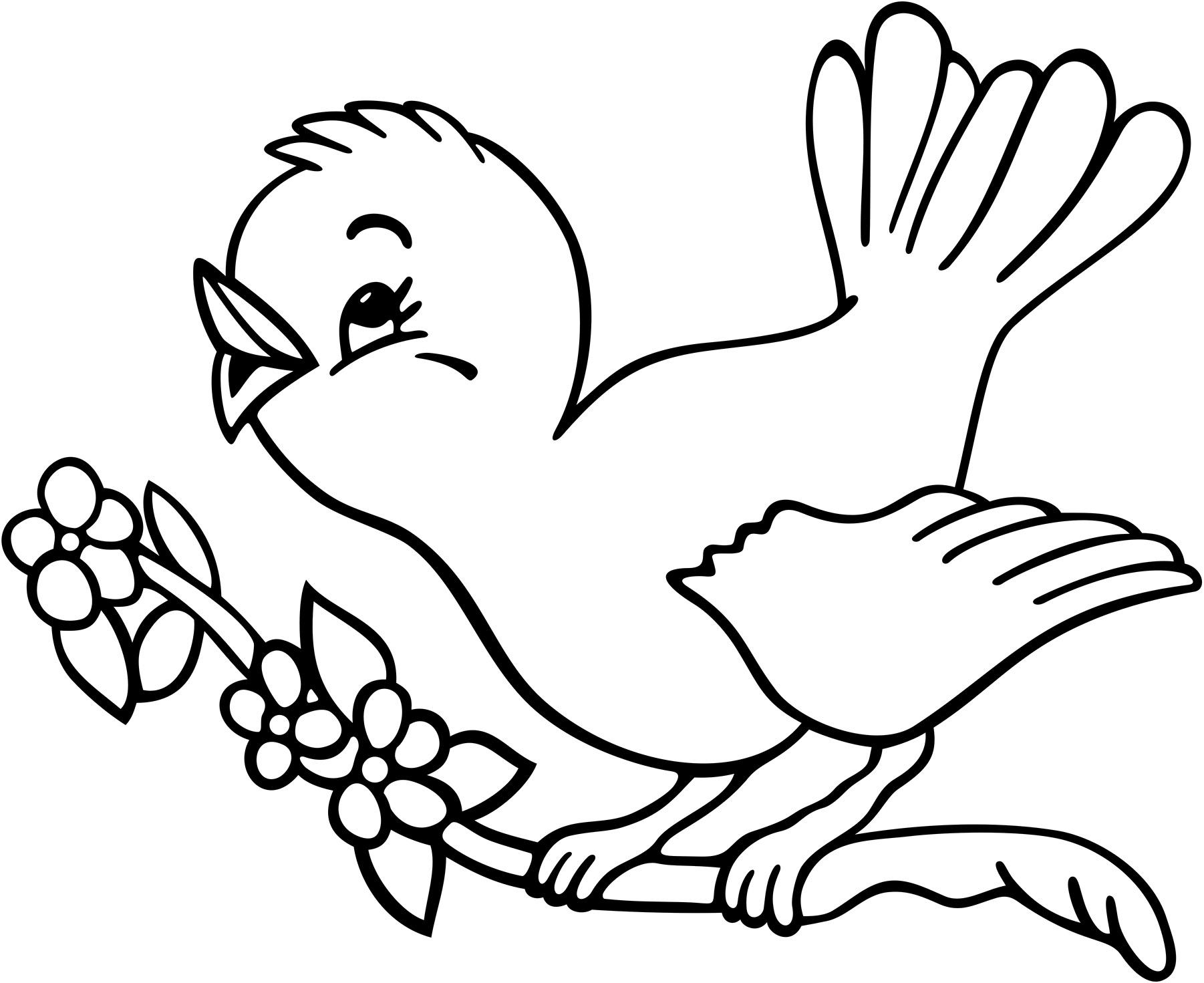 Coloriage Oiseau Sur Arbre.Coloriage Oiseau Sur Un Arbre A Imprimer