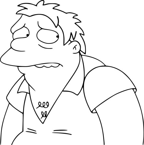 Coloriage Simpson Barney Gumble