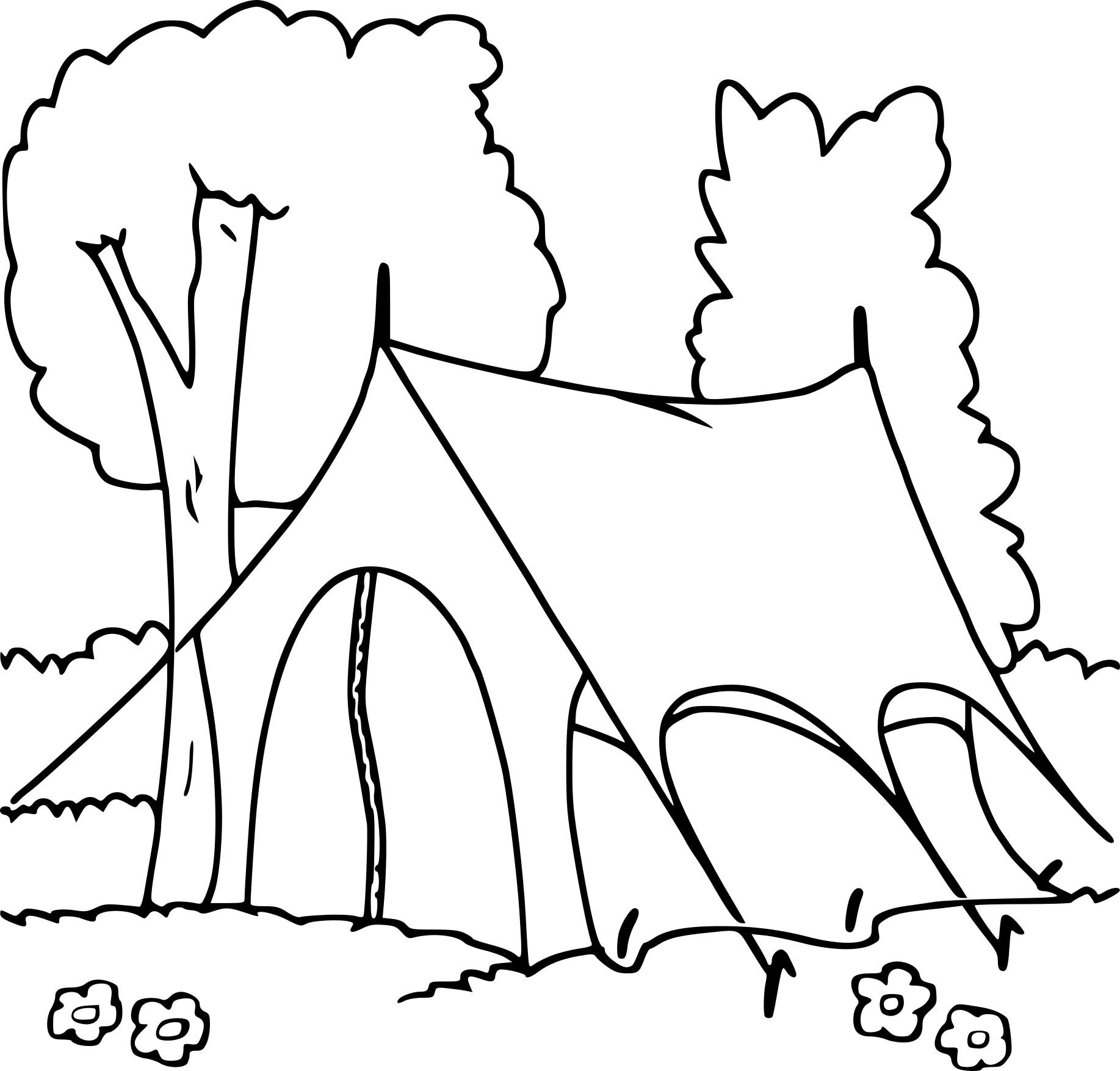 coloriage tente camping imprimer - Coloriage Toile