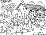 Coloriage village Afrique