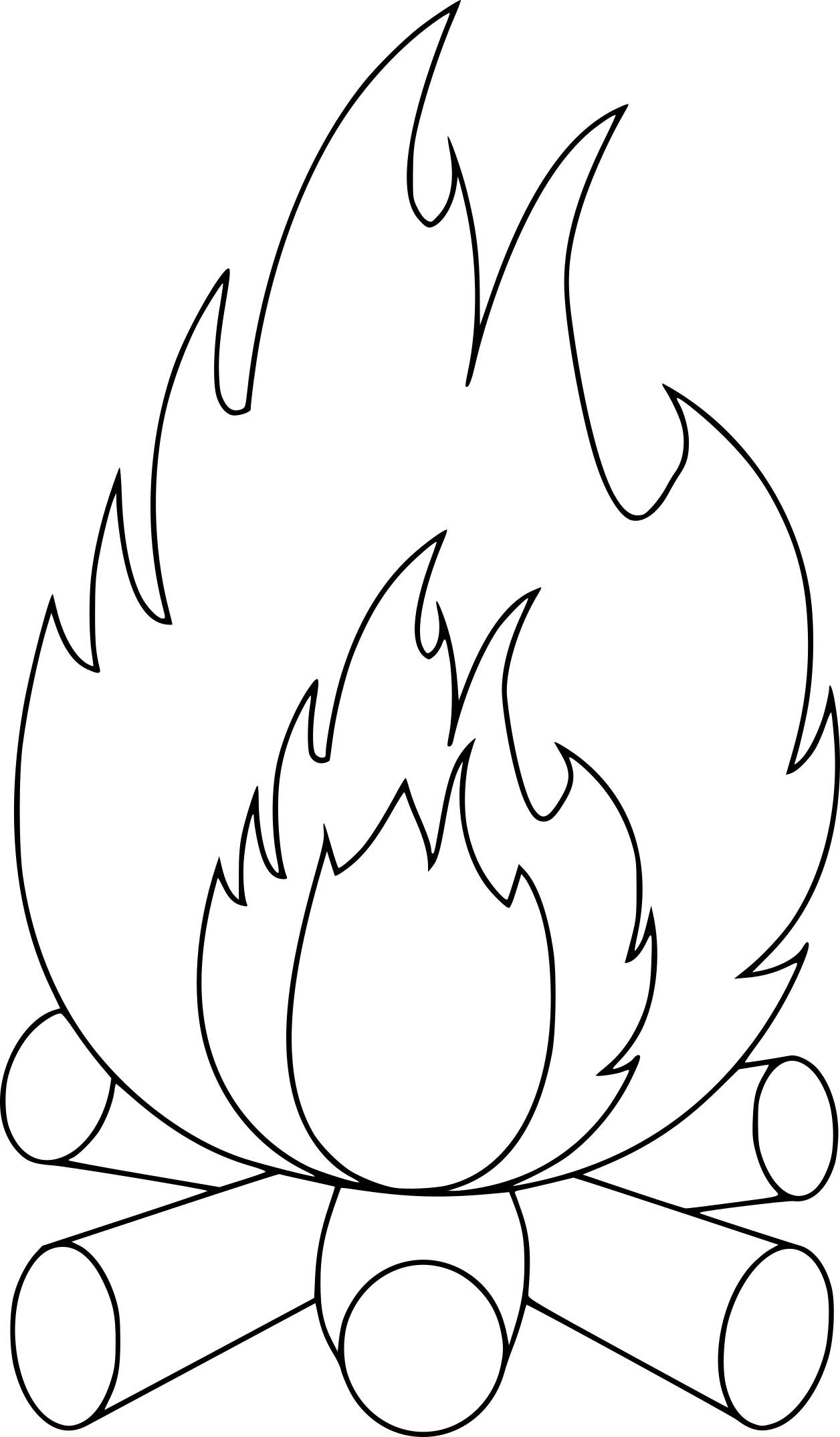 Coloriage feu de camp et dessin à imprimer