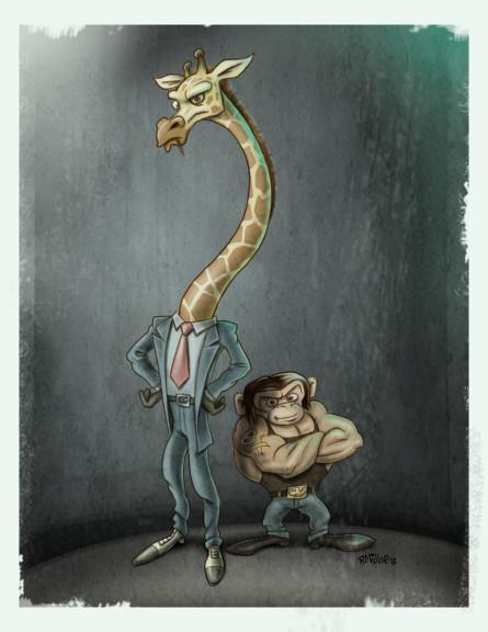 Girafe et singe