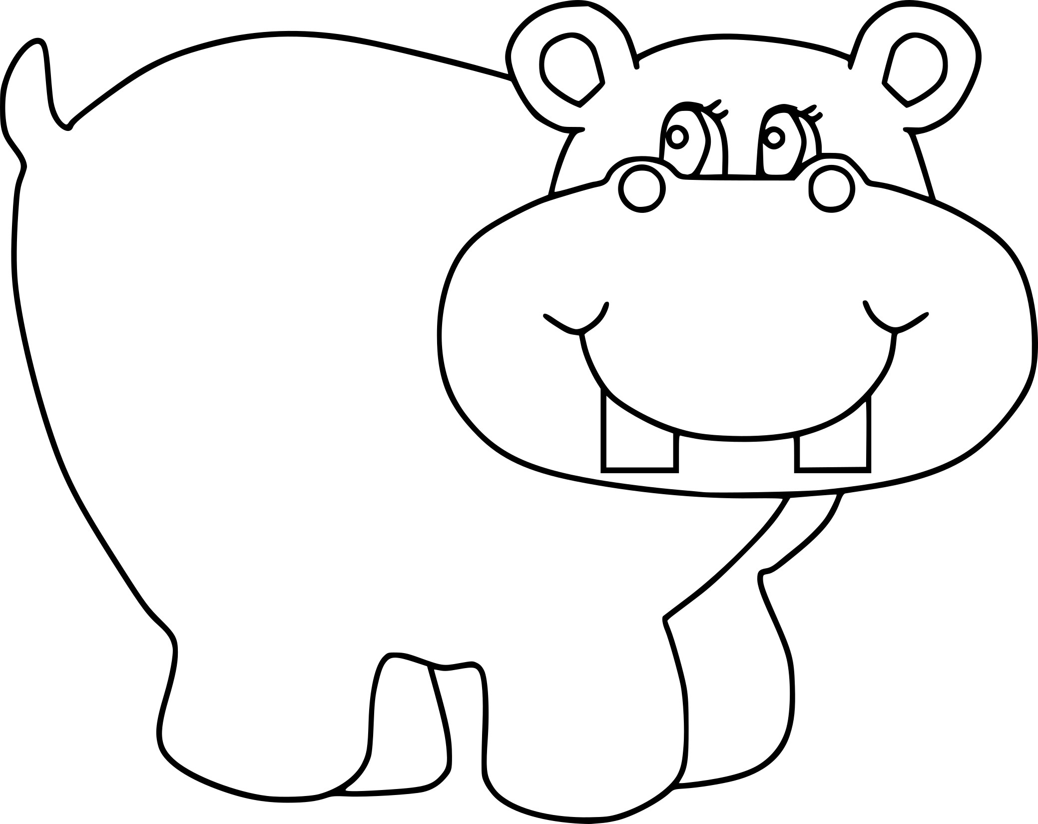 Coloriage Hippopotame Et Dessin à Imprimer