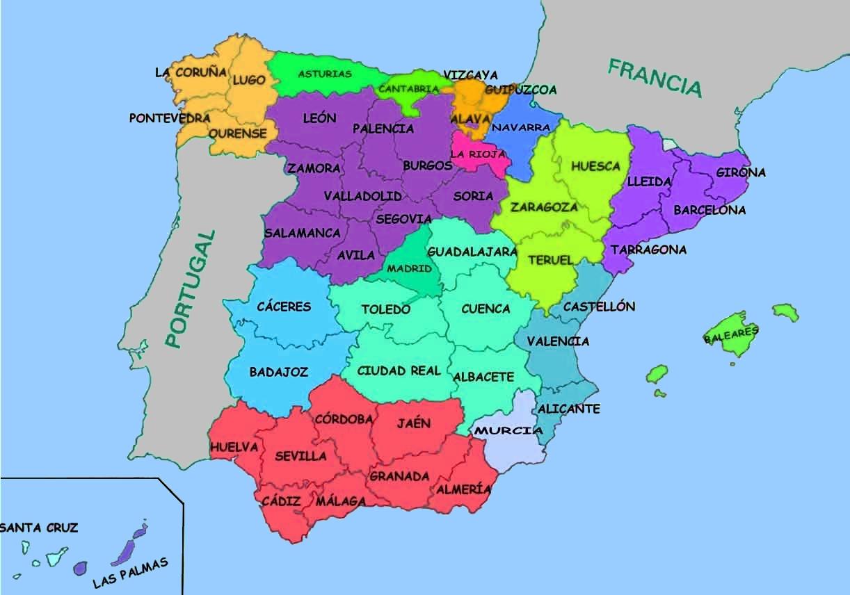 Coloriage carte Espagne à imprimer