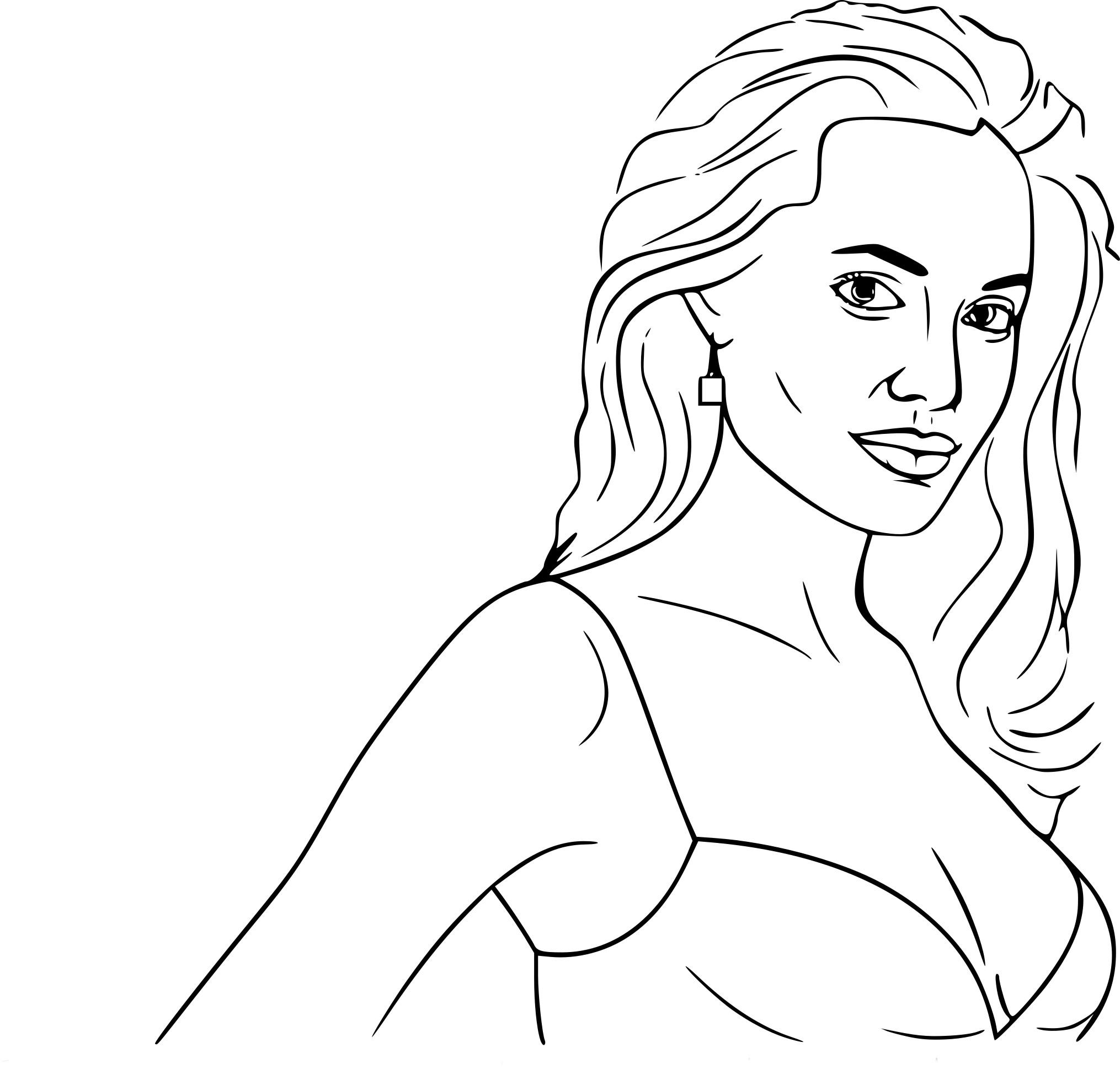 Coloriage Angelina Jolie à Imprimer