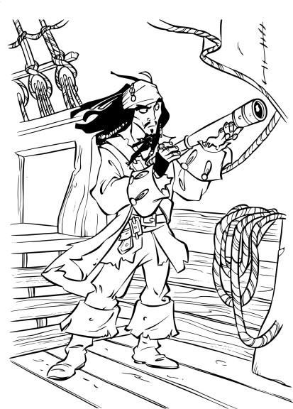 Coloriage capitaine Jack Sparrow