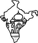 Coloriage carte de l'inde