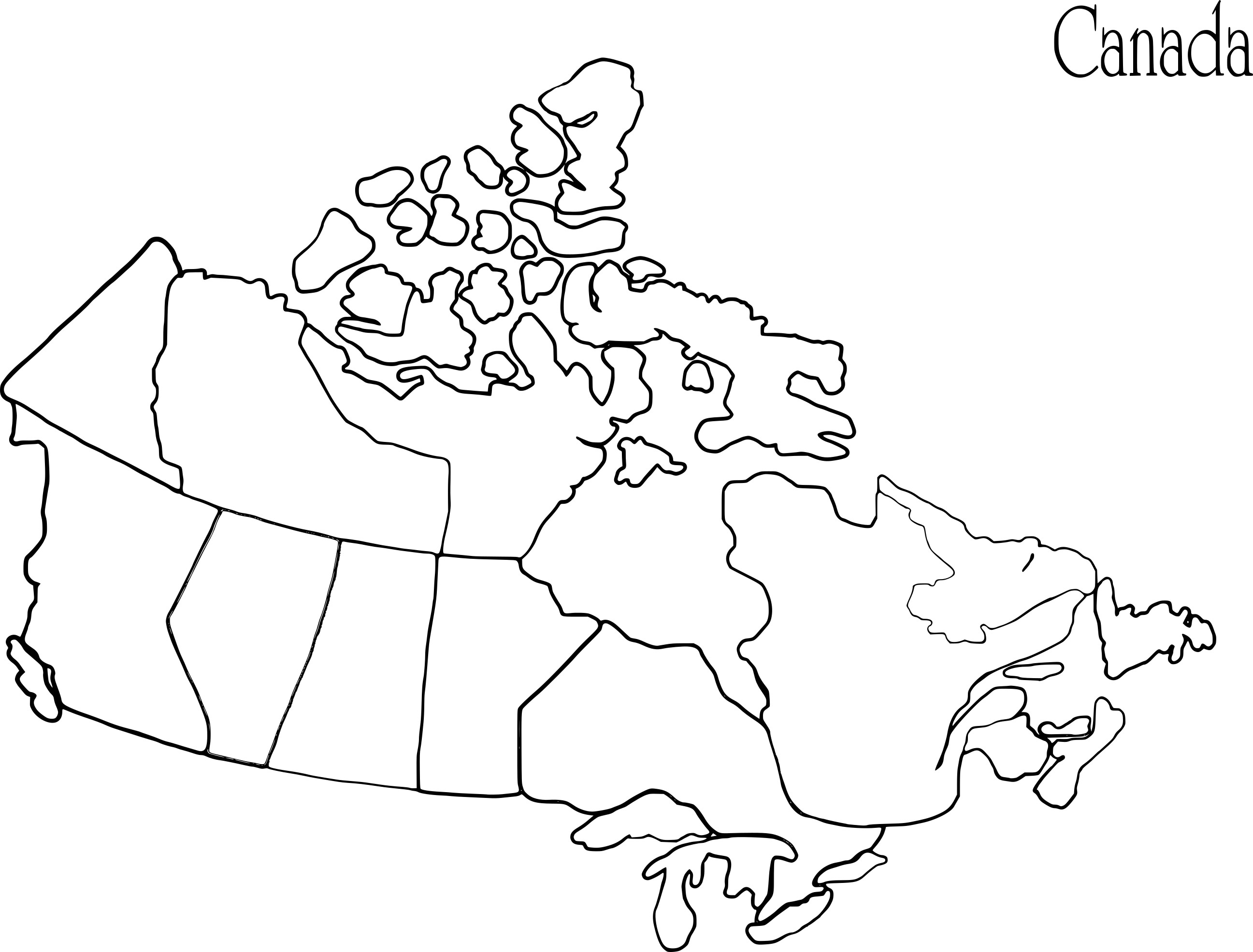 Coloriage carte du Canada