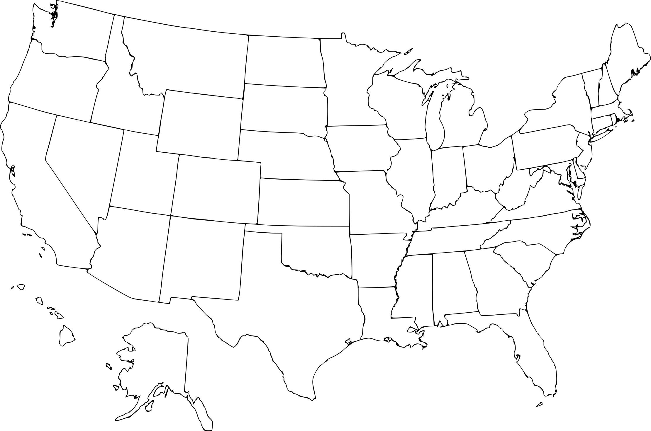 Coloriage carte États-Unis