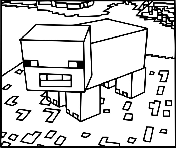Coloriage cochon Minecraft
