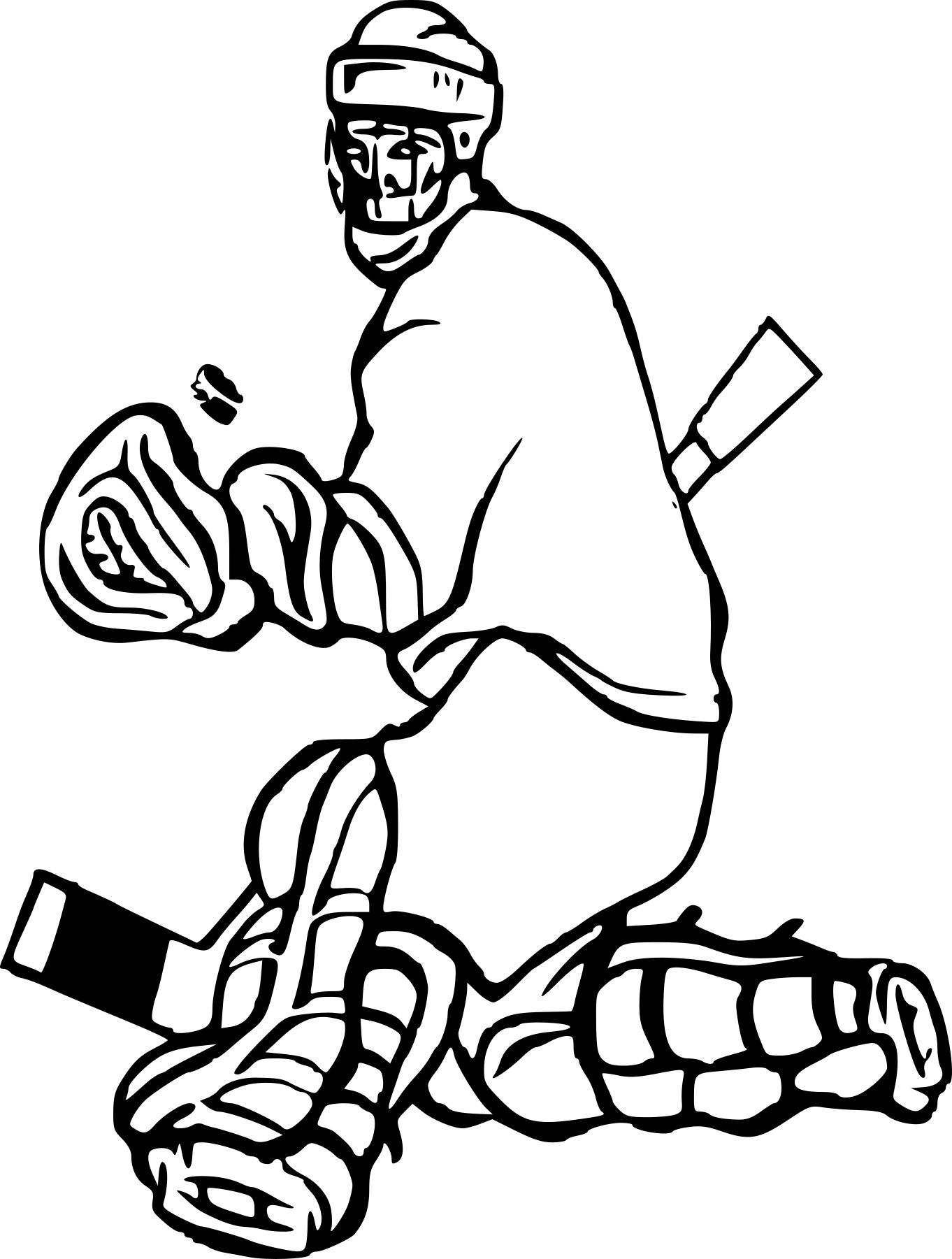 Coloriage gardien de hockey