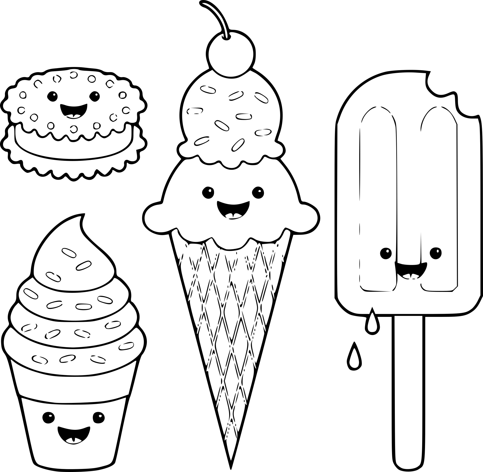 Coloriage Kawaii Glace