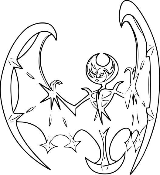 Coloriage lunala pokemon l gendaire imprimer - Coloriage pokemon lune ...