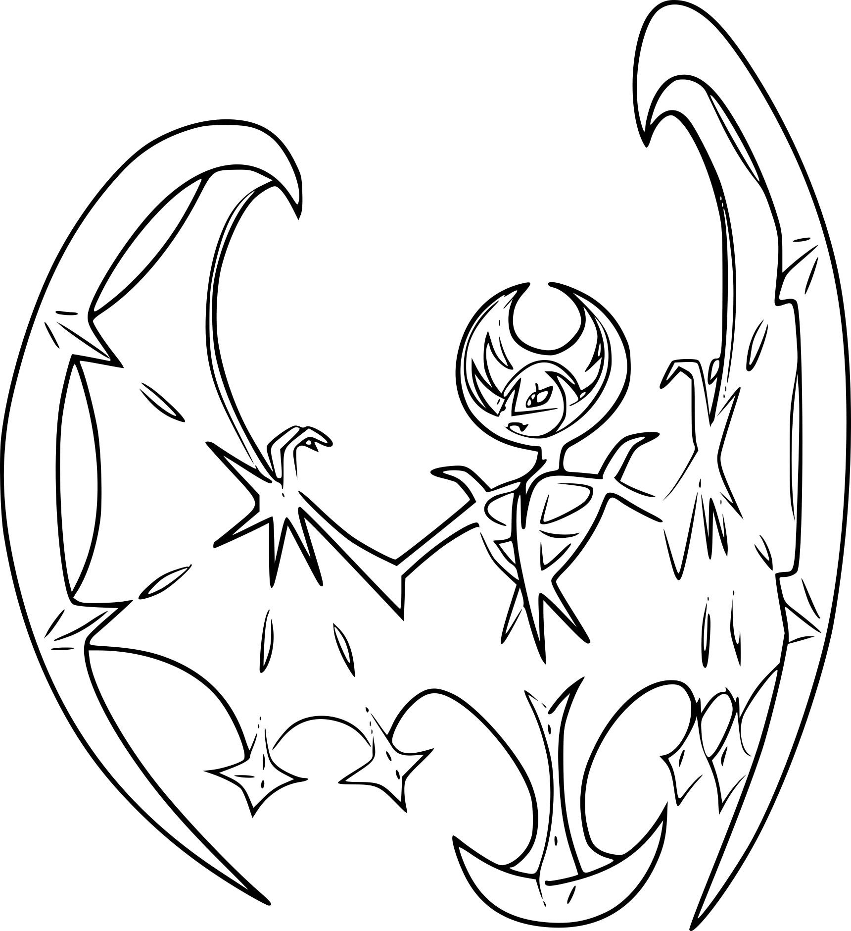 Coloriage Lunala Pokemon Legendaire A Imprimer