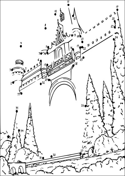 Coloriage point relier chateau