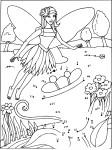 Coloriage point à relier fée