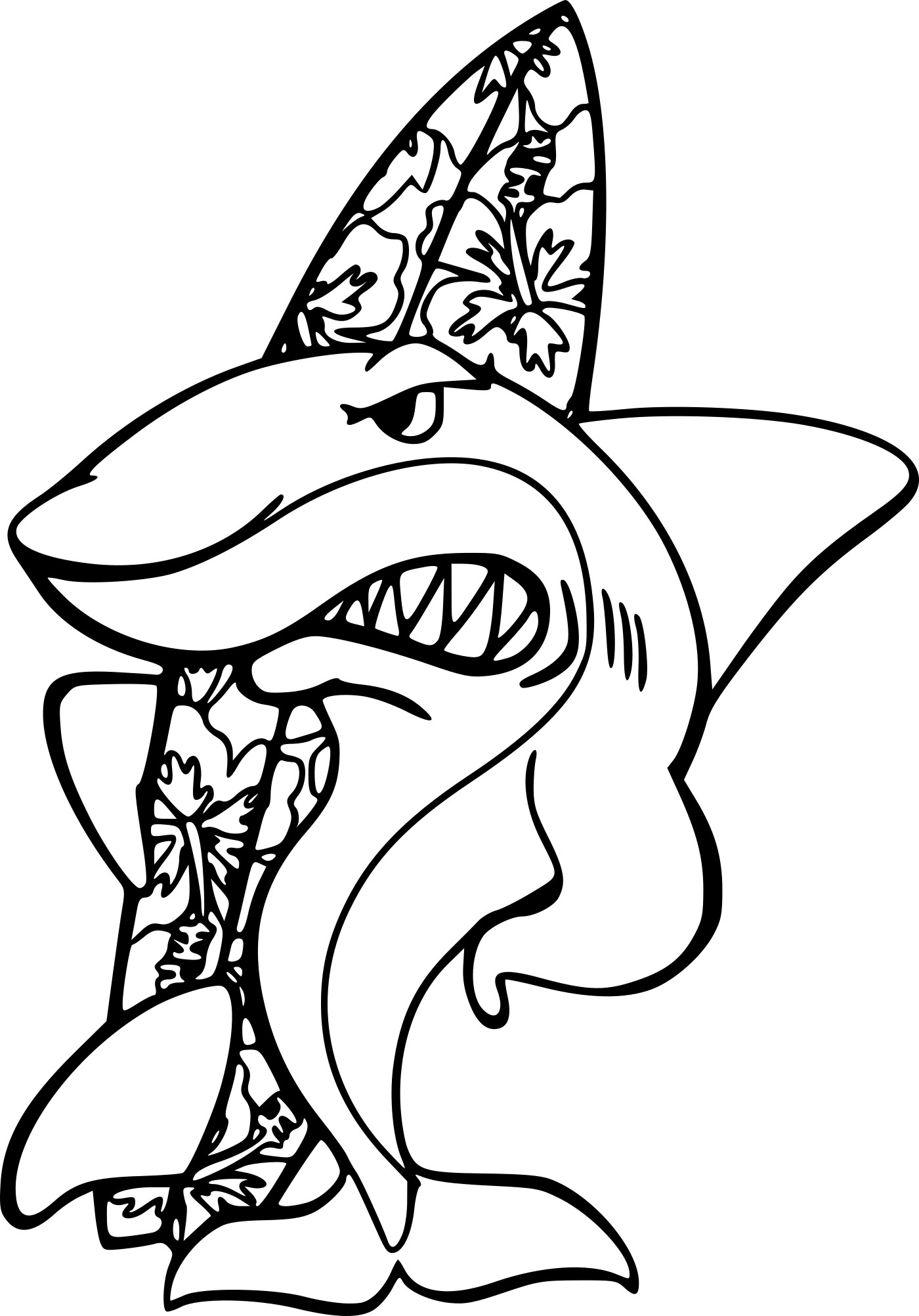Coloriage requin fait du surf