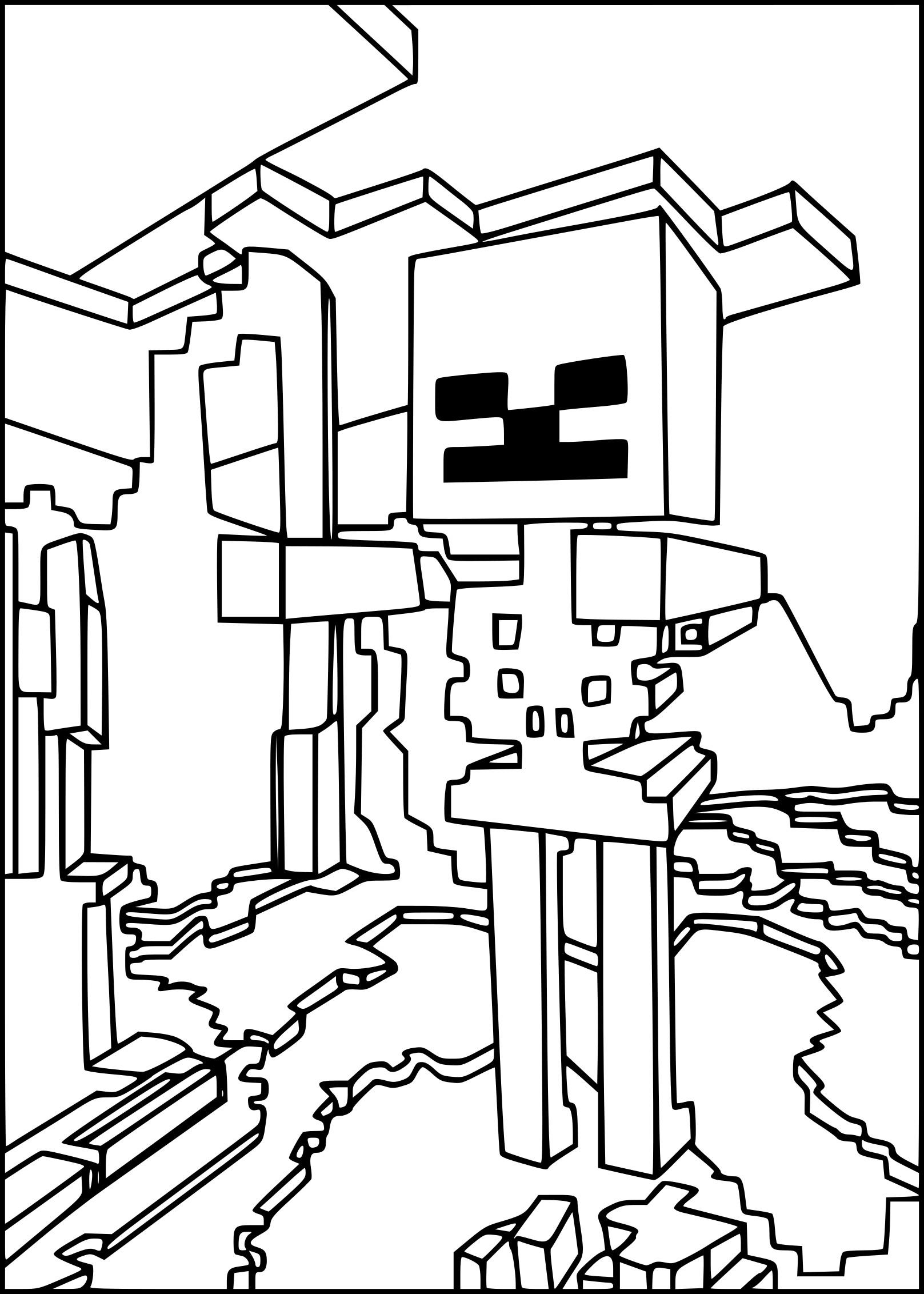 Coloriage squelette minecraft