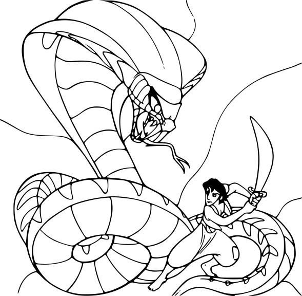 Coloriage Aladdin contre le serpent