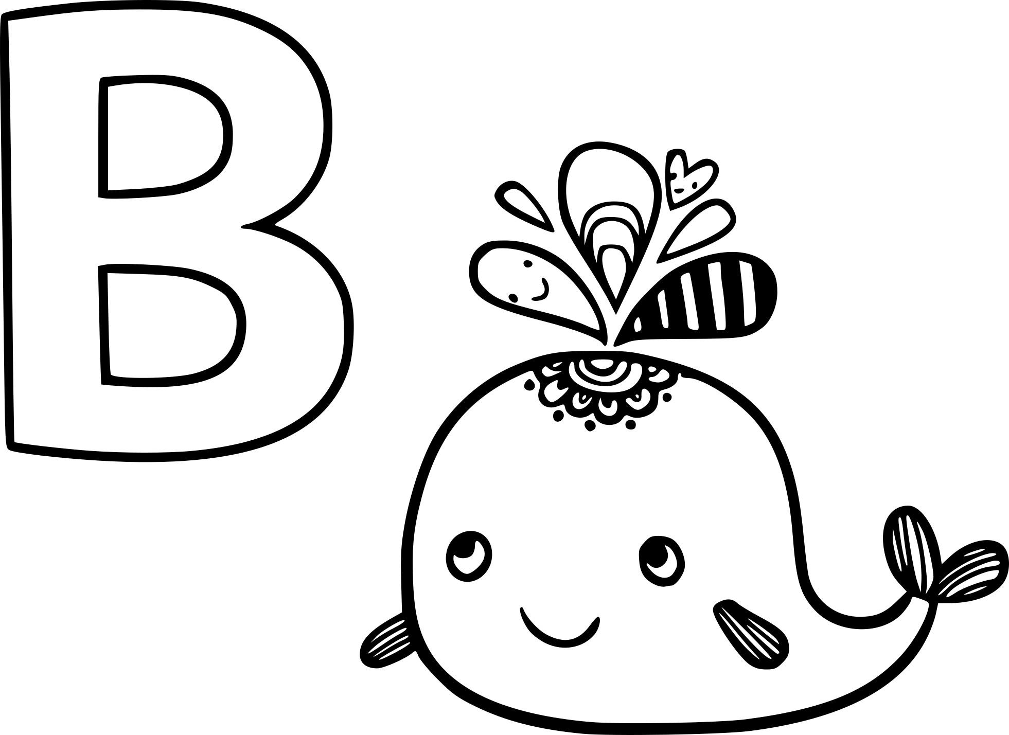Coloriage B comme baleine à imprimer