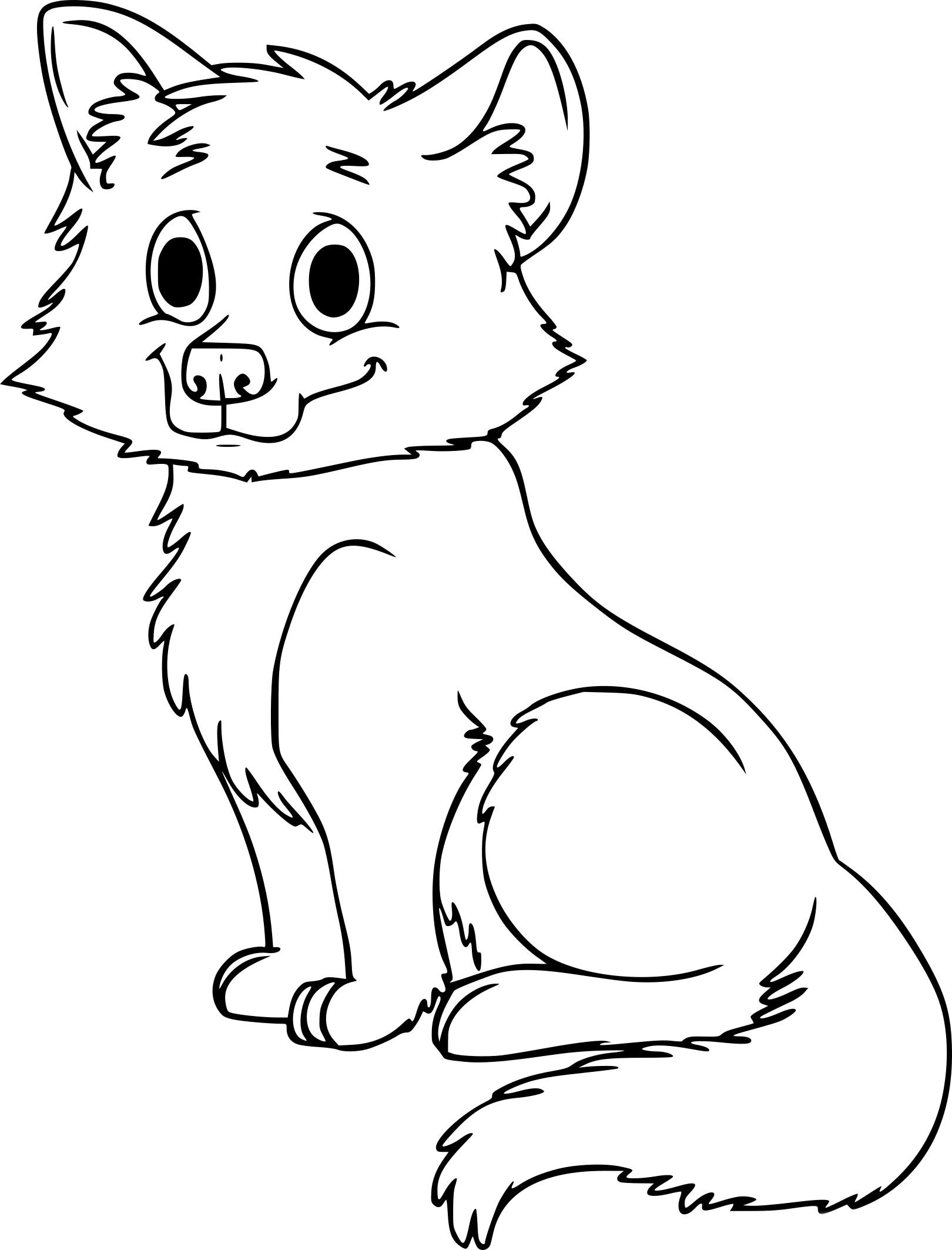 Coloriage bébé loup à imprimer