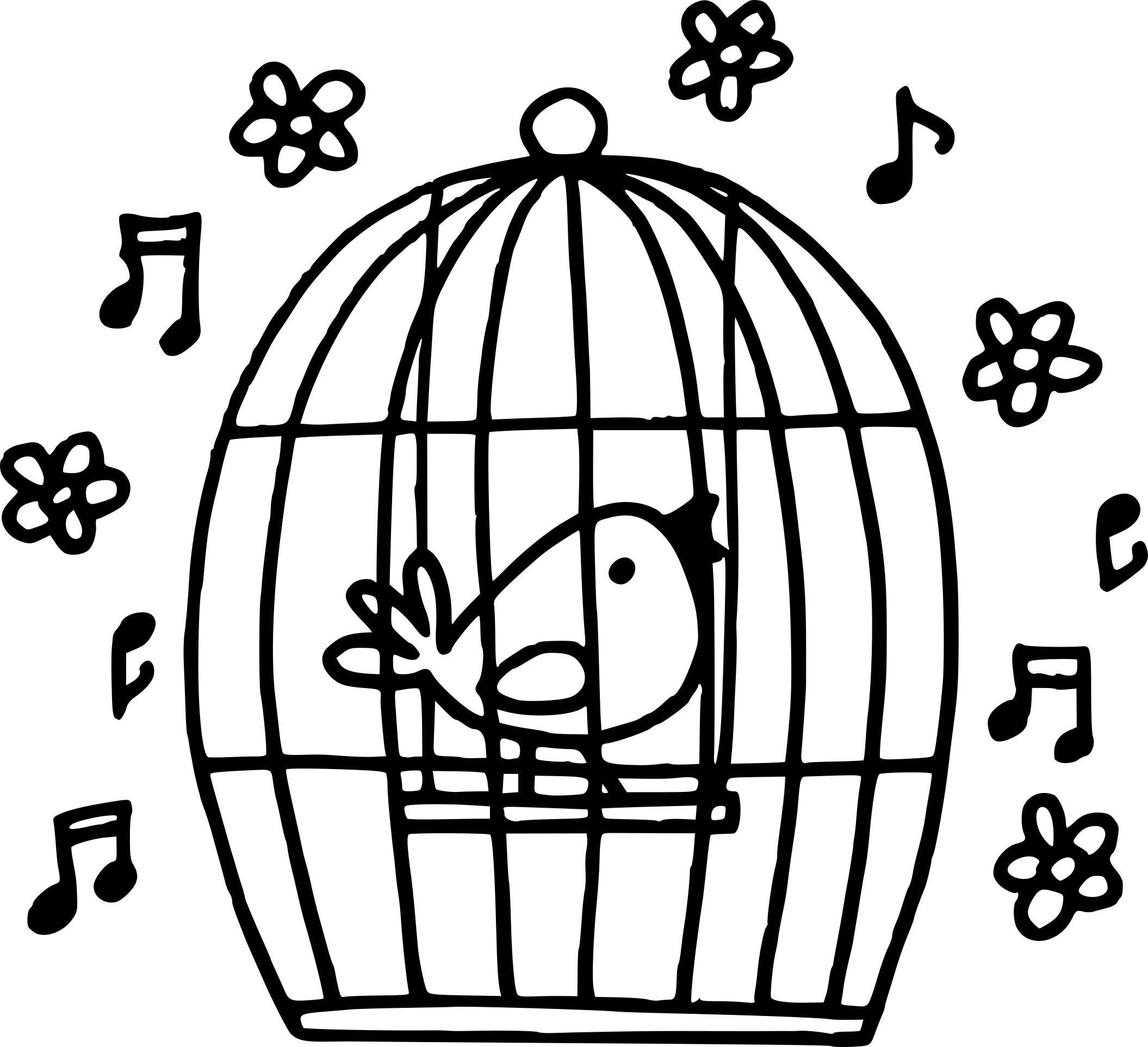 Coloriage cage à oiseaux