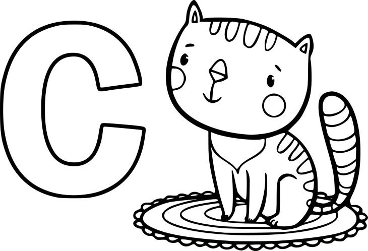 Coloriage C comme chat à imprimer