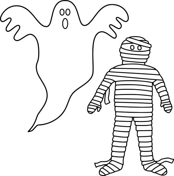 Coloriage fantome et momie