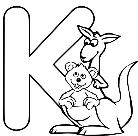 Coloriage K comme kangourou