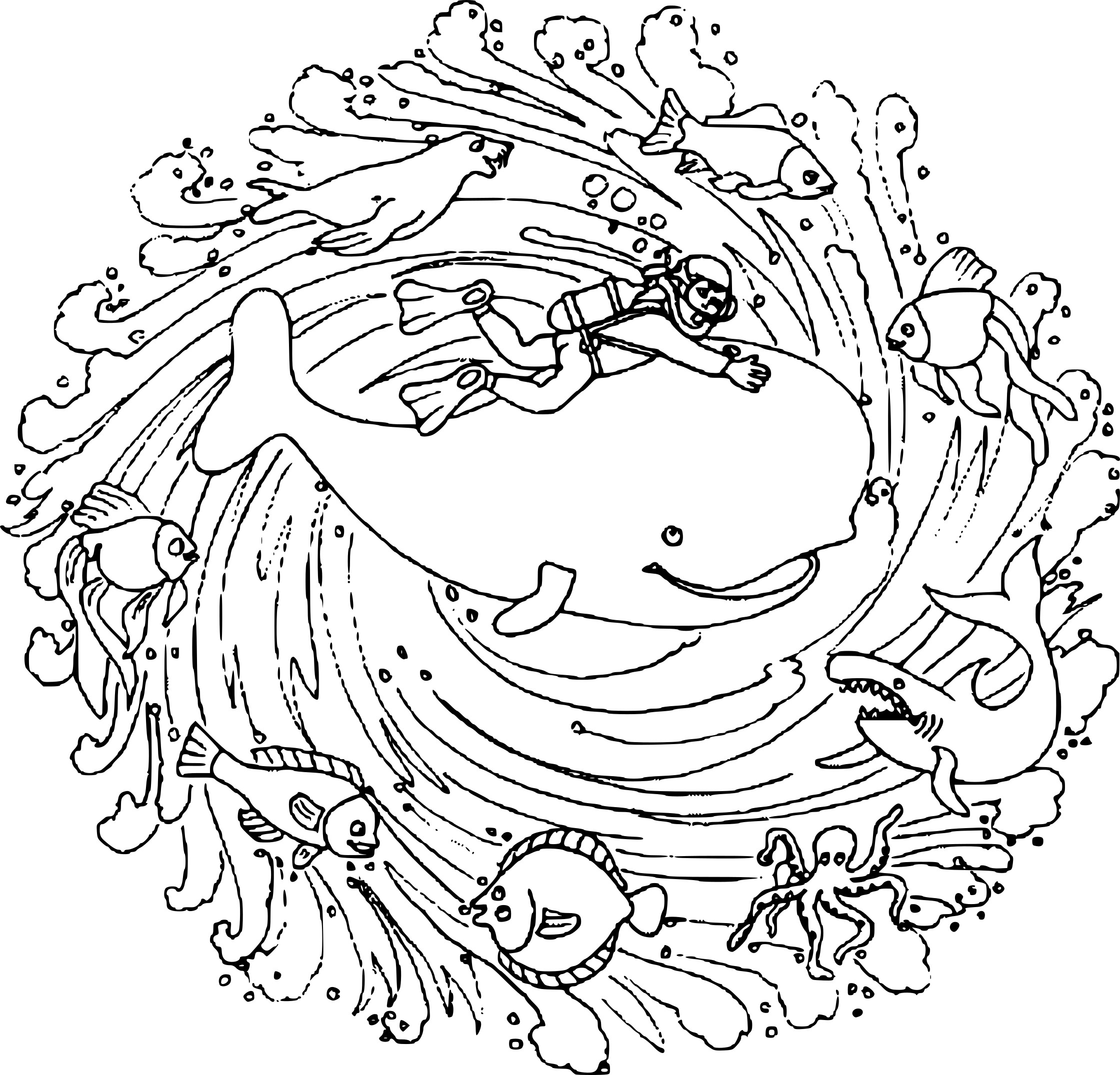 Coloriage Mandala Animaux Marins A Imprimer