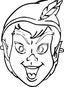 Coloriage masque Peter Pan