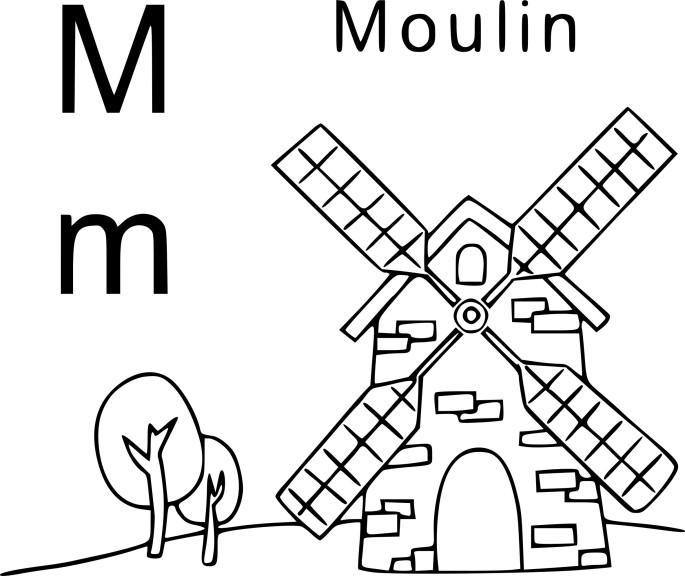 Coloriage M comme moulin