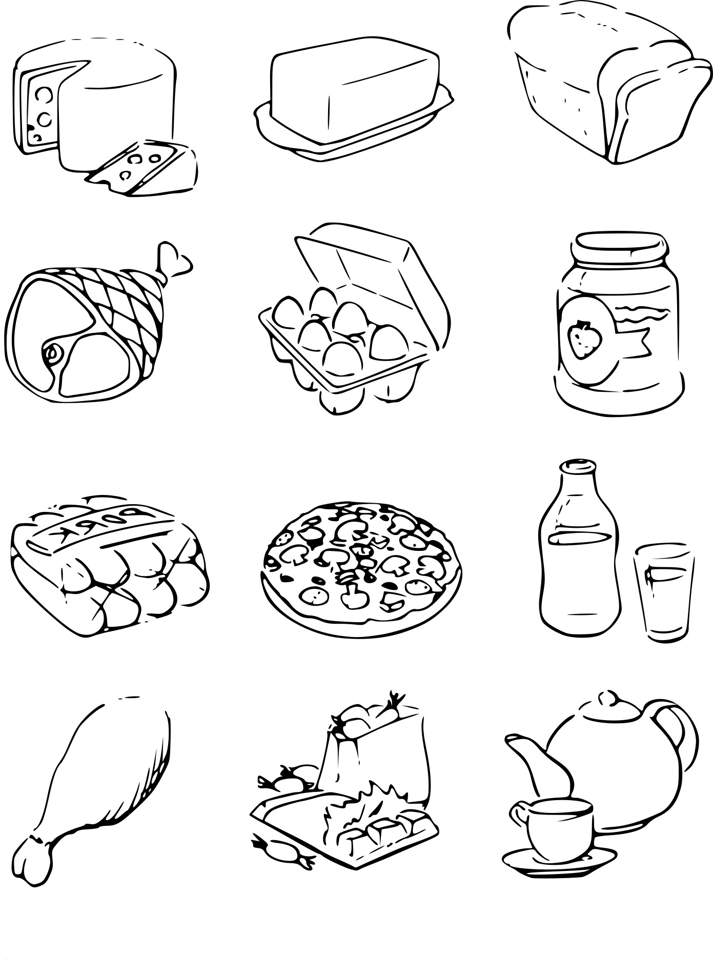 Coloriage Nourriture à Imprimer