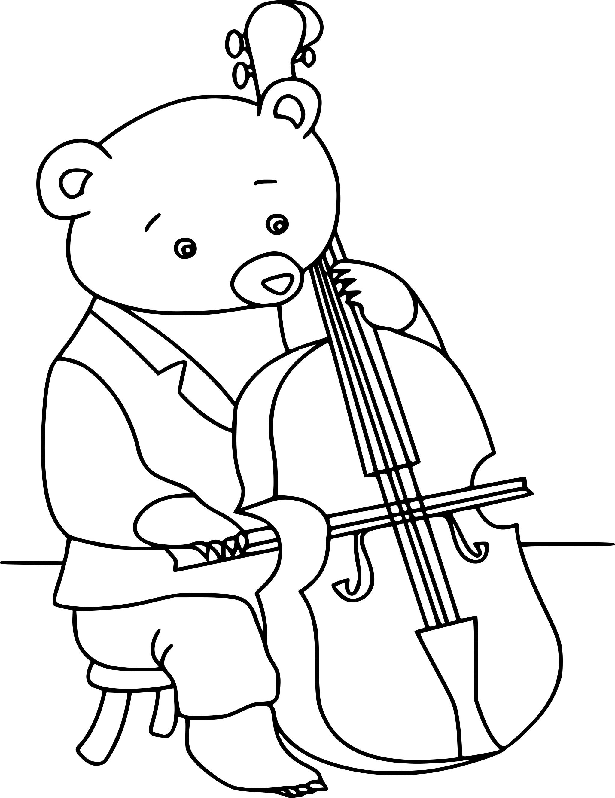 Coloriage ours fait du violoncelle
