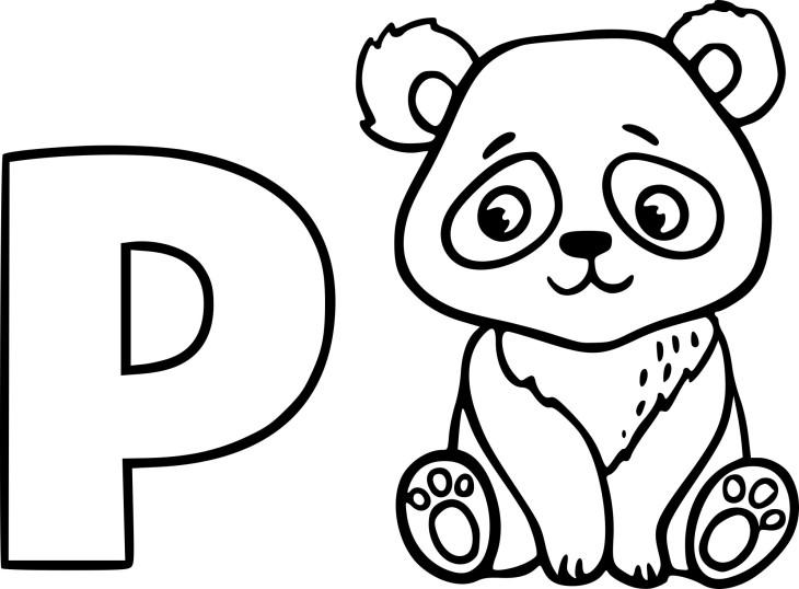 Coloriage P comme Panda