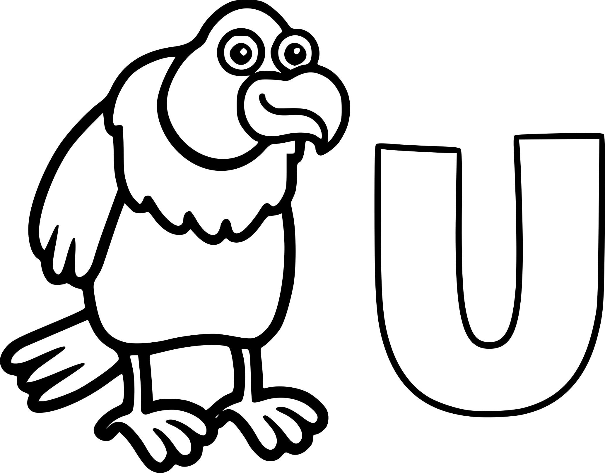 Coloriage U comme Urubu