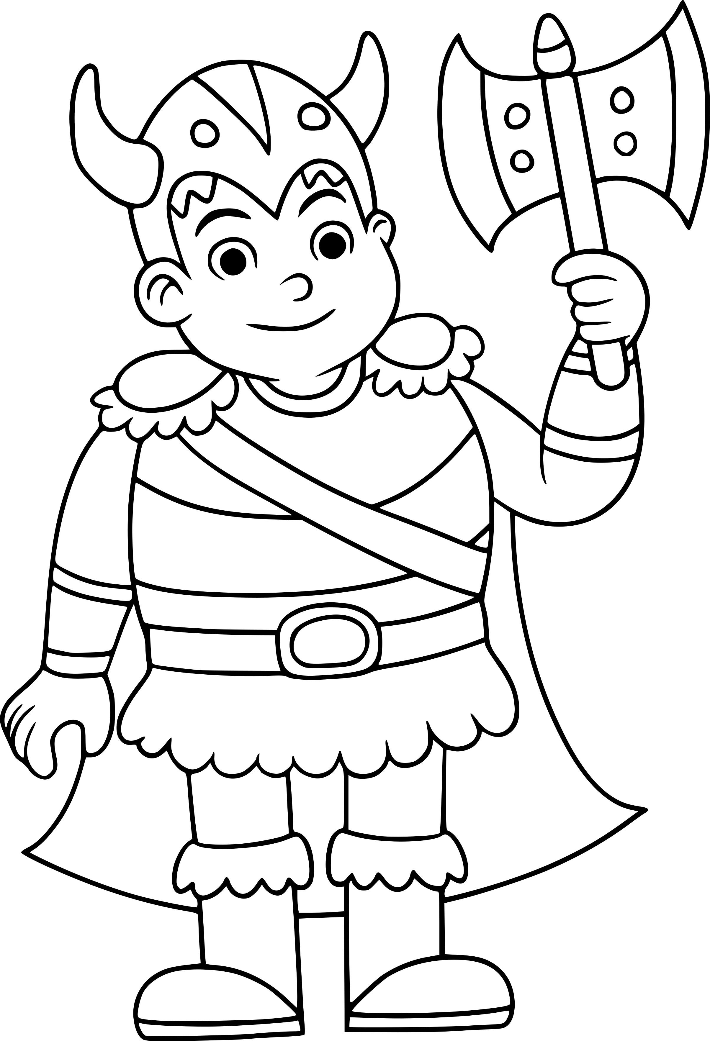 Coloriage viking avec sa hache imprimer - Dessin de viking ...