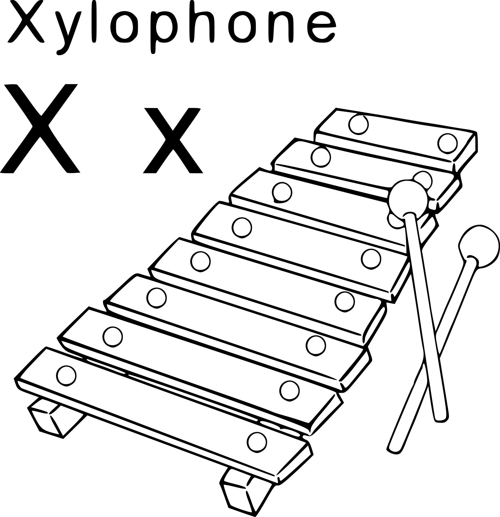 Coloriage X comme Xylophone