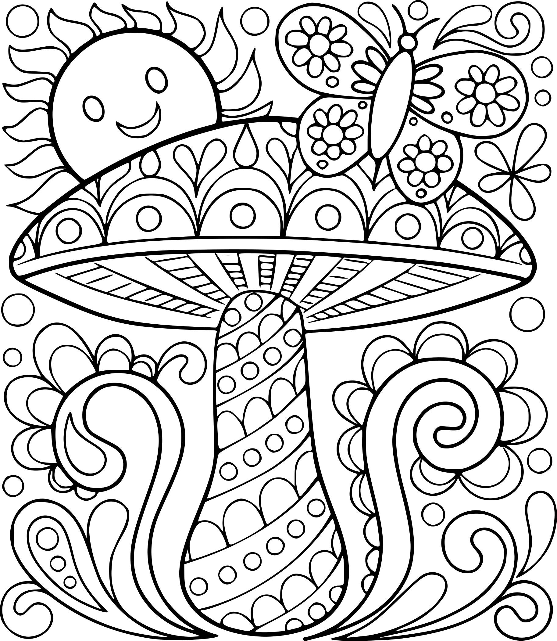 Coloriage adulte champignon à imprimer