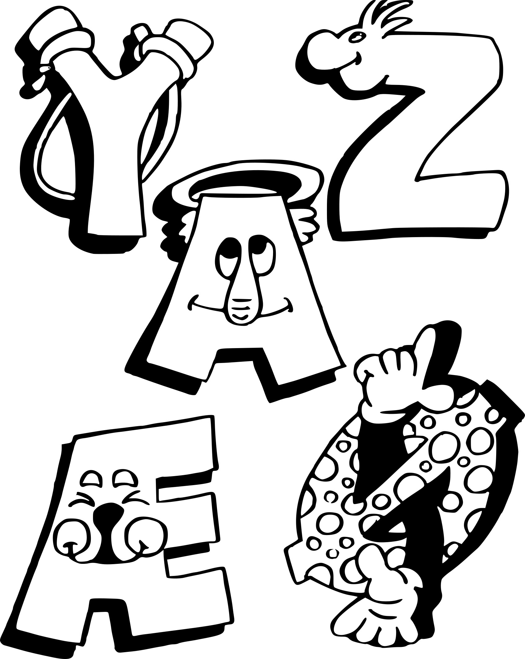 Coloriage alphabet rigolo à imprimer