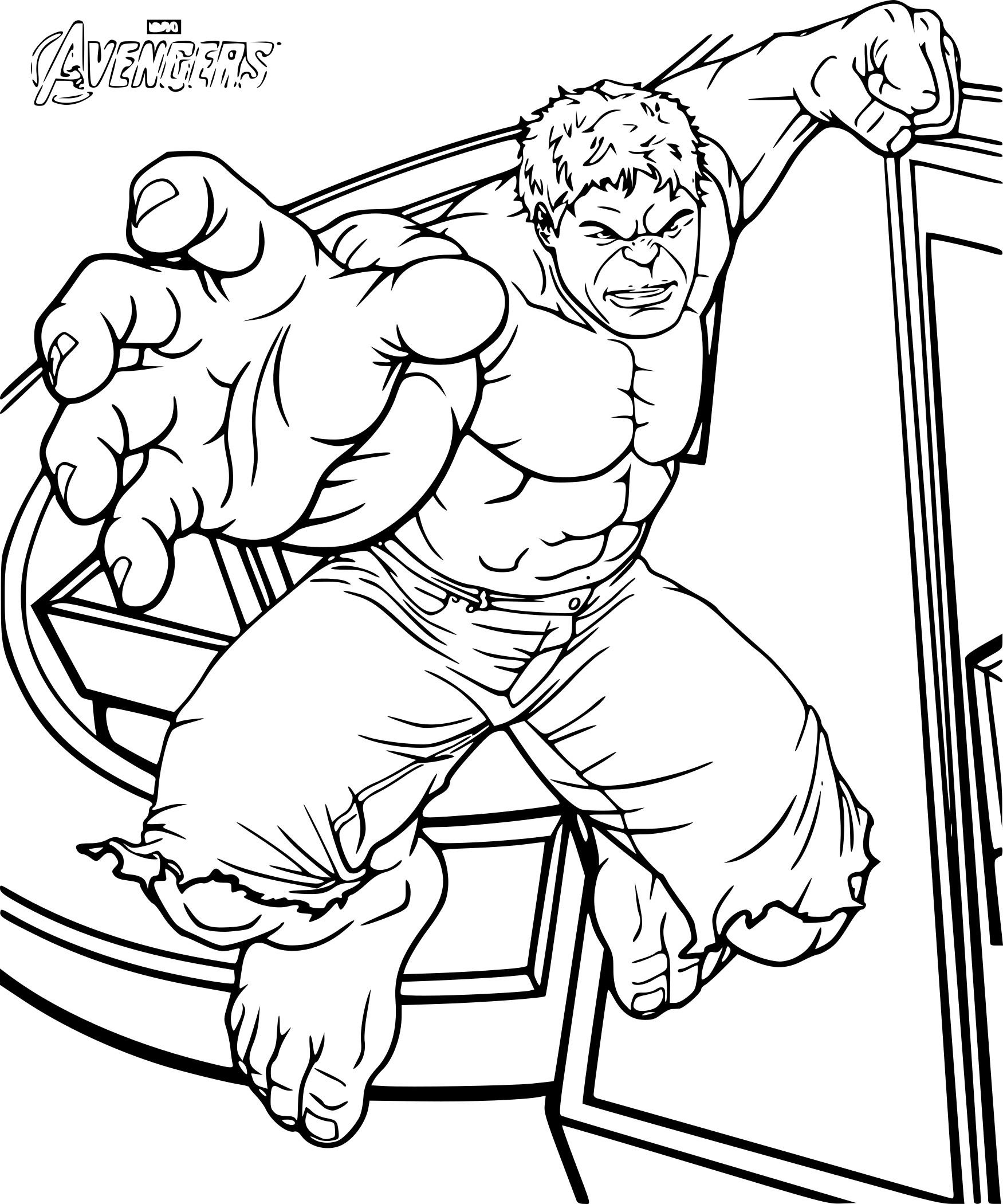 Coloriage Avengers Hulk à Imprimer