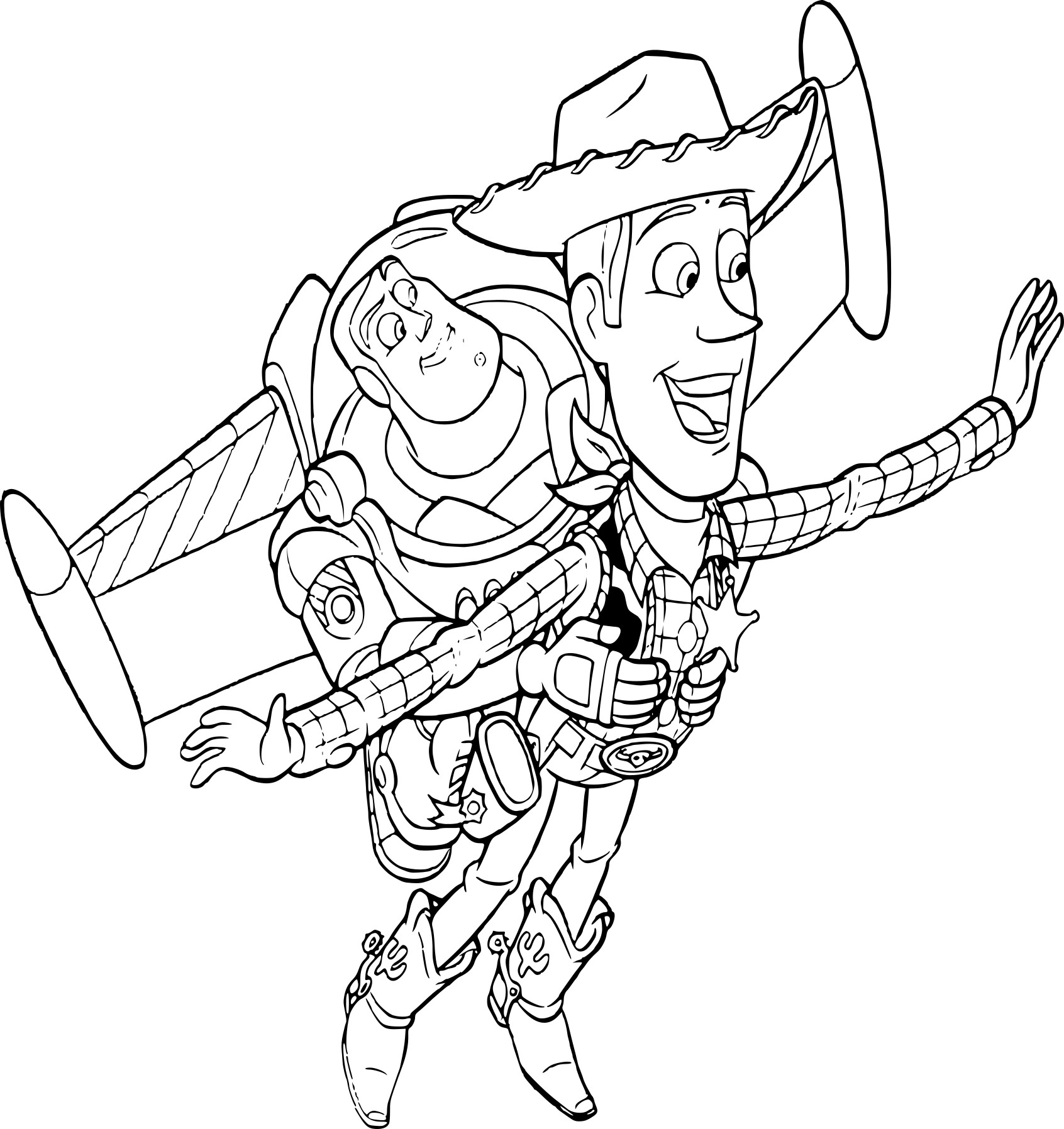 Coloriage Buzz et Woody