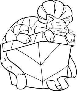 Coloriage chat dort sur un cadeau de Noel
