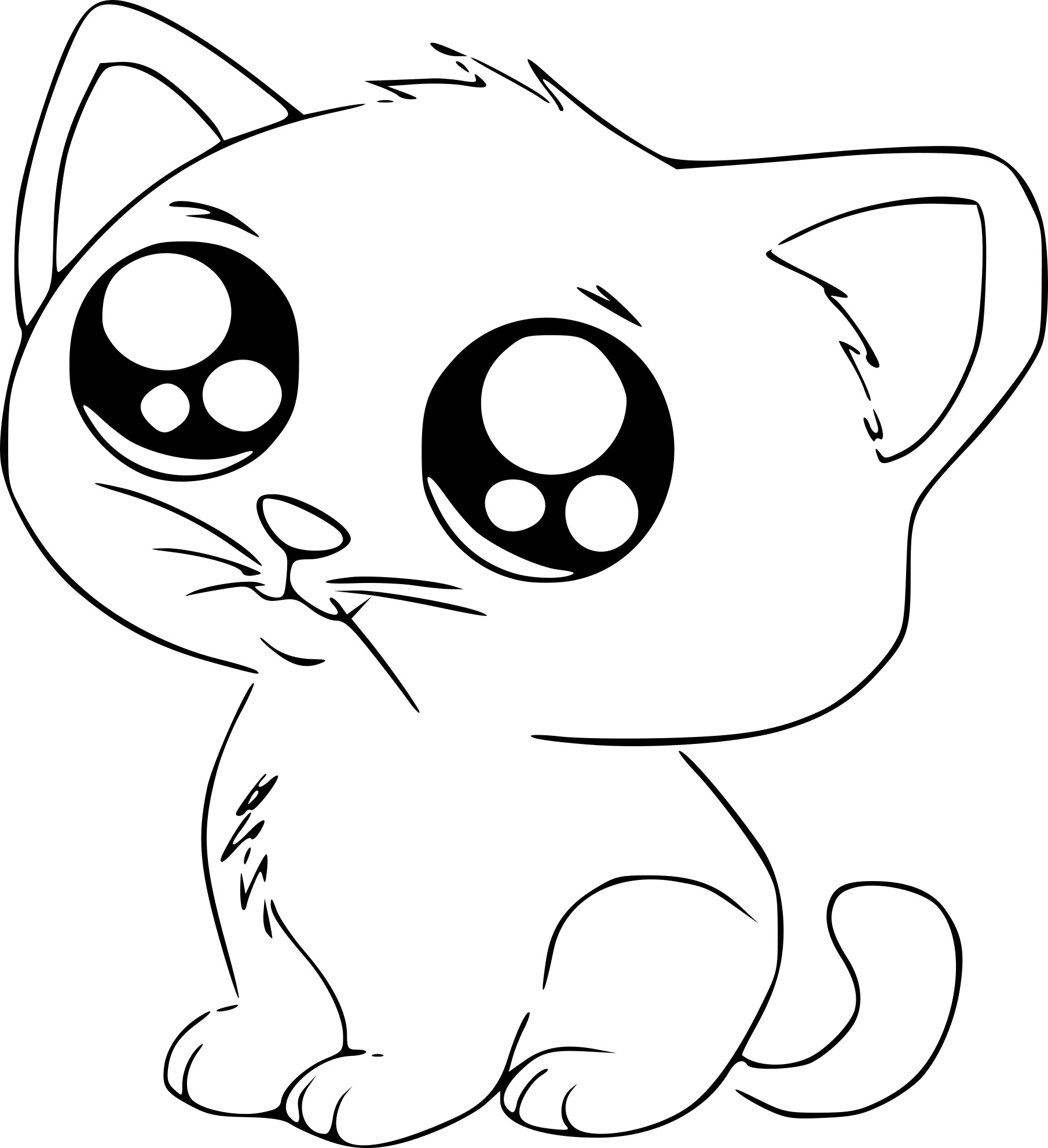 Coloriage chat manga imprimer - Dessin a colorier un chat ...