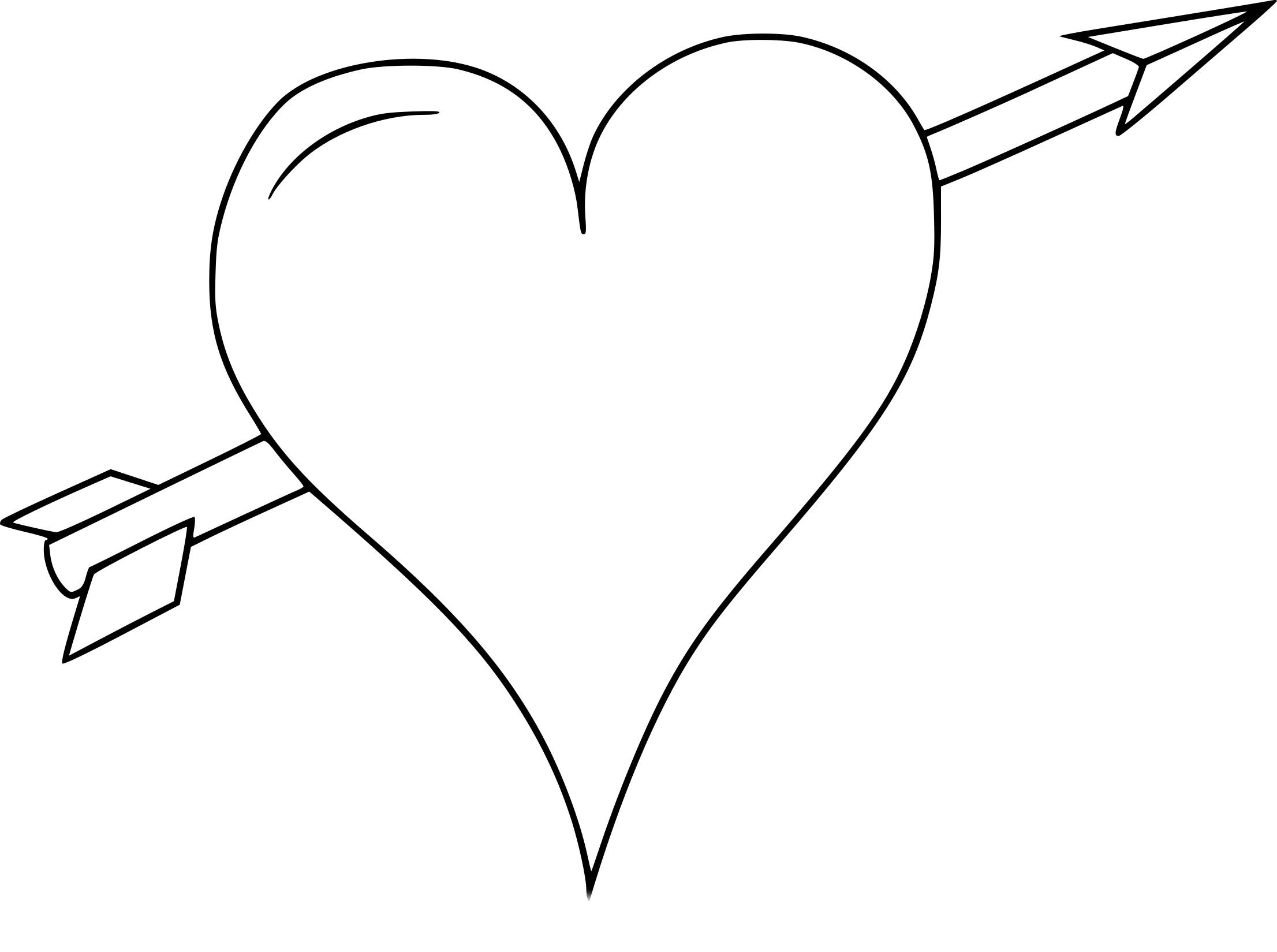 Coloriage coeur avec une fleche