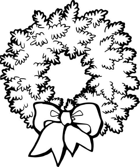 Coloriage couronne de Noel