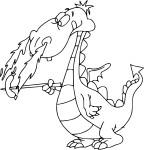 Coloriage dragon mange une saucisse