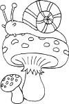 Coloriage escargot sur un champignon